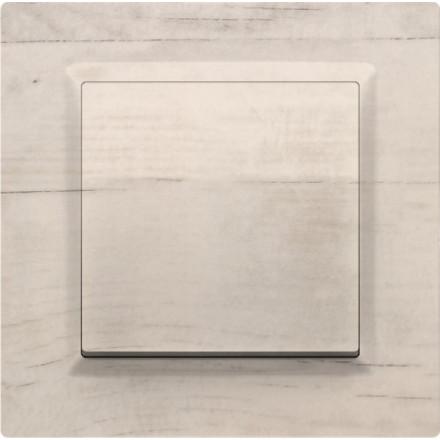 Włącznik Wyłącznik Simon 10 + ramka pojedynczy Białe drewno