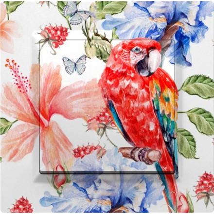 Włącznik Wyłącznik Simon 10 + ramka pojedynczy Czerwona papuga