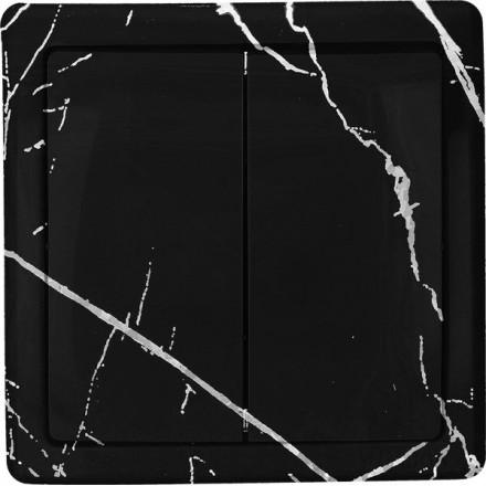 Włącznik Wyłącznik Simon basic + ramka podwójny Czarny marmur