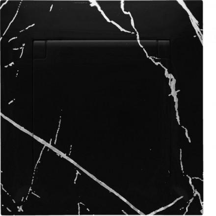Gniazdo hermetyczne Simon 54 + ramka pojedyncze Czarny marmur