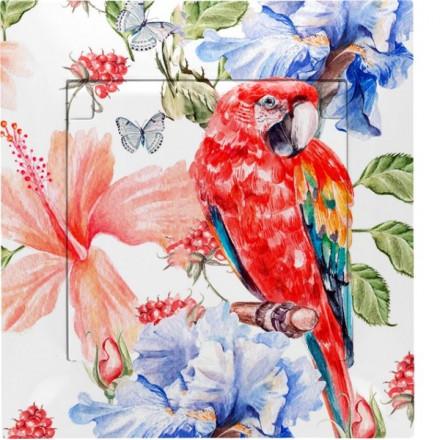 Gniazdo hermetyczne Simon 54 + ramka pojedyncze Czerwona papuga