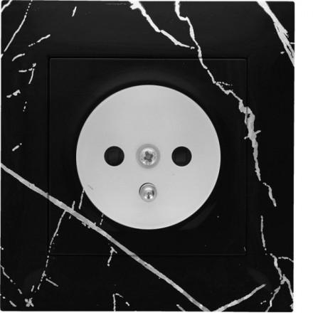 Gniazdo Simon 54 + ramka pojedyncze Czarny marmur