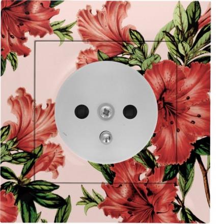 Gniazdo Simon 54 + ramka pojedyncze Czerwone kwiaty