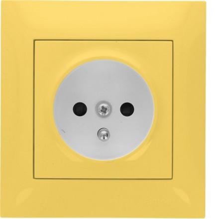 Gniazdo Simon 54 + ramka pojedyncze Pastelowy żółty