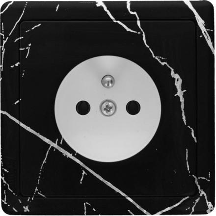 Gniazdo Simon Basic + ramka pojedyncze Czarny marmur