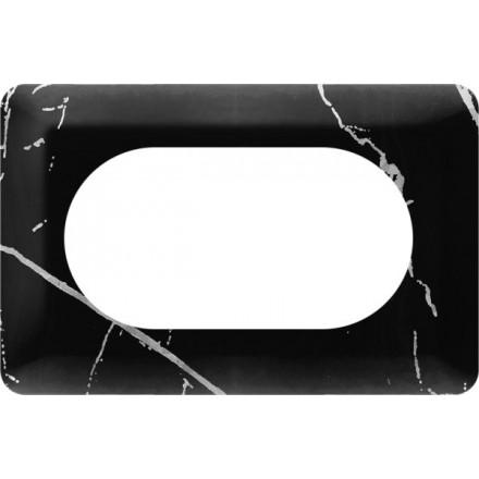 Osłonka pod kontakt / włącznik podwójna Czarny marmur