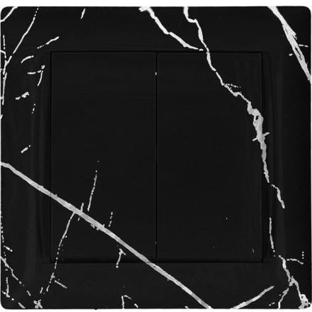 Włącznik Wyłącznik Adelind KM W2 + ramka podwójny Czarny marmur