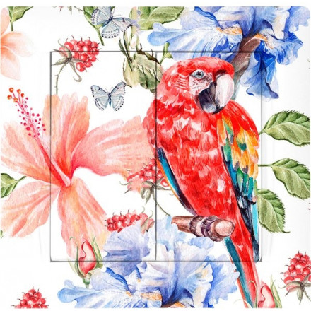 Włącznik Wyłącznik Adelind KM W2 + ramka podwójny Czerwona papuga
