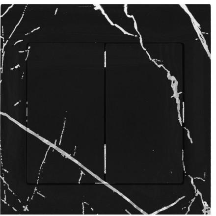 Włącznik Wyłącznik Sigma + ramka podwójny Czarny marmur