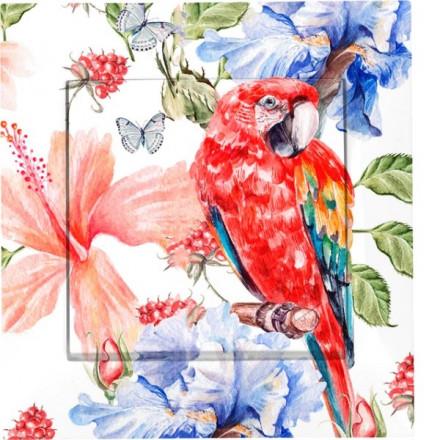 Przycisk dzwonka do drzwi Simon 54 Czerwona papuga