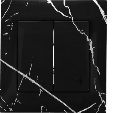 Włącznik krzyżowy Simon 54 Podwójny Czarny marmur