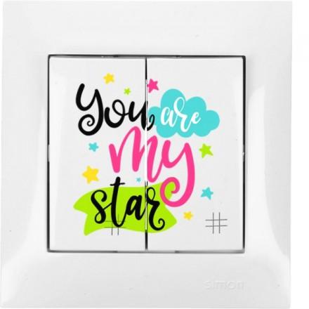 Włącznik krzyżowy Simon 54 Podwójny You are my star