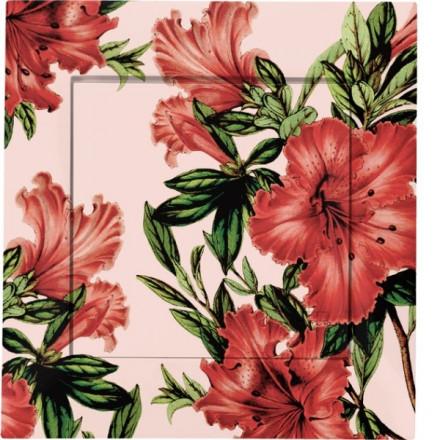 Włącznik krzyżowy Pojedynczy Simon 54 Czerwone kwiaty