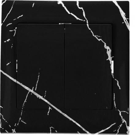 Włącznik schodowy Sigma Podwójny Czarny marmur