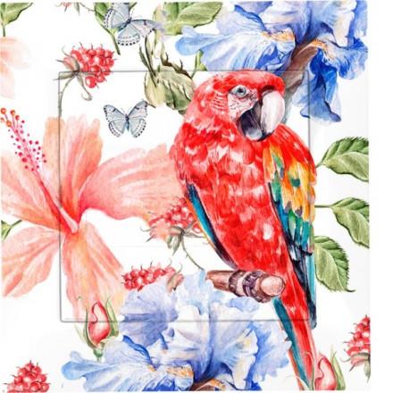 Zaślepka kontaktu Simon 54 Czerwona papuga