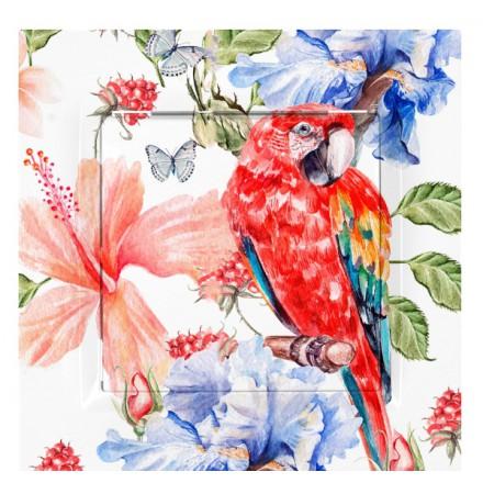 PRZYCISK DZWONKA SIMON 10 Czerwona papuga