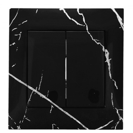 WŁĄCZNIK SCHODOWY PODWÓJNY SIMON BASIC Czarny marmur